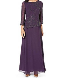Beaded 3/4-Sleeve Gown