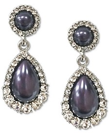 Silver-Tone Crystal & Imitation Pearl Drop Earrings, Created for Macy's