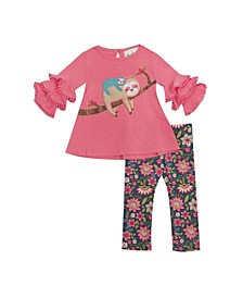 Little Girl Knit Set With Sloth Applique