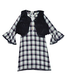 Big Girl Plaid Dress With Faux Fur Vest