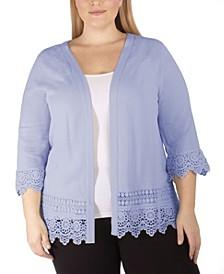 Women's Plus Size 3/4 Sleeve Crochet Cardigan