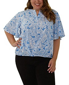 Women's Plus Size Flutter Sleeve Top