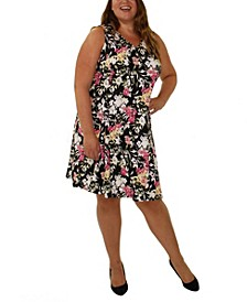 Women's Plus Size Sleeveless Dress with Godets