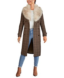 Plaid Double-Breasted Faux-Fur-Collar Walker Coat