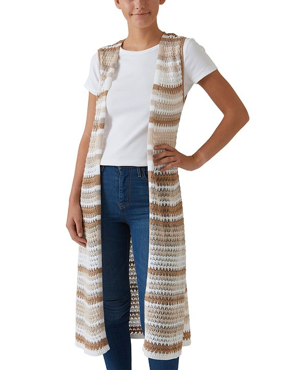 Hooked Up by IOT Juniors' Striped Duster Vest