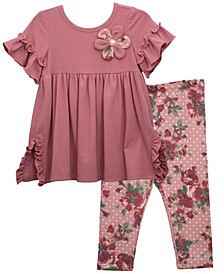 Toddler Girl Empire Knit Dress With Ruffled Short Sleeve And Flower, Coordinating Printed Legging