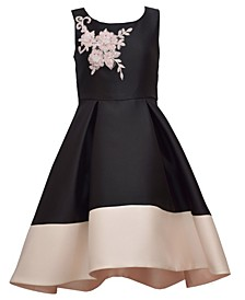 Big Girl Sleeveless High Low Hem Mikdao Dress With Contrast Border And Appliqued Bodice
