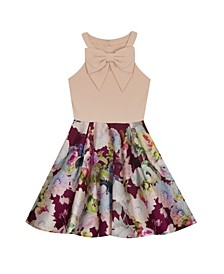 Big Girl Scuba Crepe Dress With Bow Detail