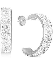 Crystal C-Hoop Earrings in Fine Silver-Plate, Rose Gold Plate or Gold Plate