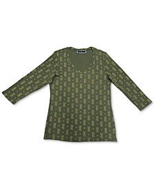 Printed 3/4-Sleeve V-Neck Top, Created for Macy's