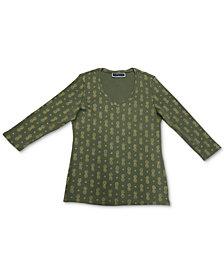 Karen Scott Printed 3/4-Sleeve V-Neck Top, Created for Macy's