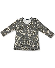 Floral 3/4-Sleeve Top, Created for Macy's