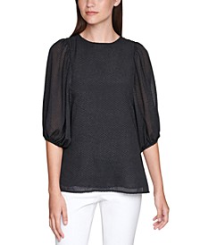Plus Size Textured Balloon-Sleeve Top