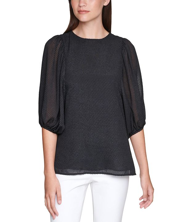 Calvin Klein Plus Size Textured Balloon-Sleeve Top