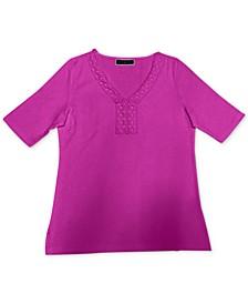 Crochet-Trim Top, Created for Macy's