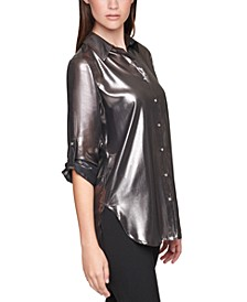 Plus Size Roll-Sleeve Metallic Shirt
