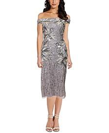 Embellished Off-the-Shoulder Midi Dress,