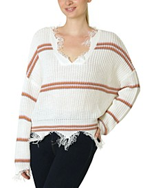 Juniors' Destructed Striped Sweater