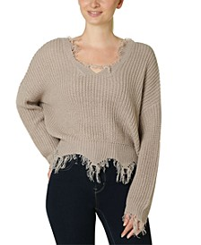 Juniors' Destructed V-Neck Sweater