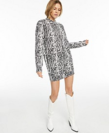 CULPOS x INC Long-Sleeve Snake-Print Mini Dress, Created for Macy's