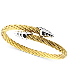 Cable Bypass Bracelet in 18k Gold PVD Stainless Steel & Sterling Silver