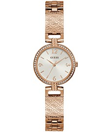 Women's Logo-Textured Rose Gold-Tone Stainless Steel Bracelet Watch 27mm