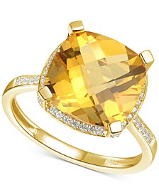 Citrine (6-1/3 ct. t.w.) & Diamond (1/4 ct. t.w.) Statement Ring in 14k Yellow Gold (Also in Amethyst & Blue Topaz)