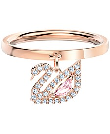 Rose Gold-Tone Pavé & Pink Crystal Swan Charm Ring