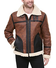 Men's Faux Leather Fleece-Lined Shortie Jacket, Created for Macy's