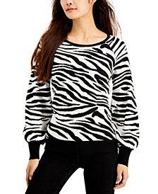 Fever Animal Print Balloon-Sleeve Sweater