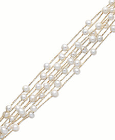 Pearl Bracelet, 14k Gold over Sterling Silver Cultured Freshwater Pearl 8-Row Bracelet (5-6mm)