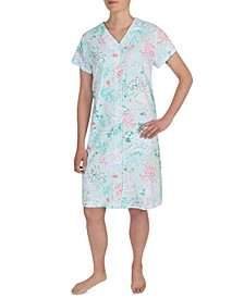 Floral-Print Short Sleeve Snap Robe