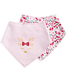 Baby Girls 2-Pc. Reindeer Bandana Bib Set, Created for Macy's