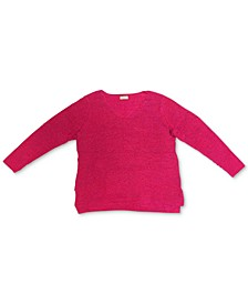 Plus Size V-Neck Cotton Sweater, Created For Macy's