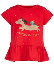 Toddler Girls Dachshund Peplum Cotton T-Shirt, Created for Macy's