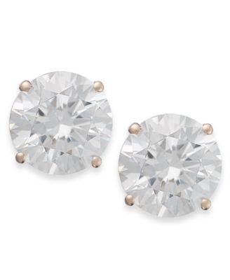 14k Rose Gold Earrings, Swarovski Zirconia Round Stud Earrings (3-1/2 ct. t.w.)