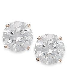 Arabella 14k Rose Gold Earrings, Swarovski Zirconia Round Stud Earrings (3-1/2 ct. t.w.)