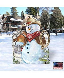 by Dona Gelsinger Cowboy Snowman Home and Outdoor Decor