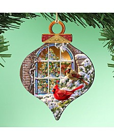 by Dona Gelsinger Winter House Cardinals Ornament, Set of 2