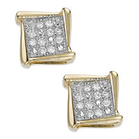 Macy's Diamond Accent Square Stud Earrings in 10k White (Yellow or Rose Gold)