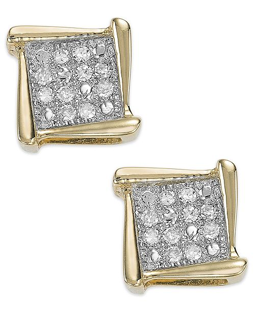 Macy S Diamond Accent Square Stud Earrings In 10k White Yellow Or Rose Gold