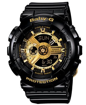 Baby-G Watch, Women's Analog-Digital Black Resin Strap 43x46mm BA110-1A