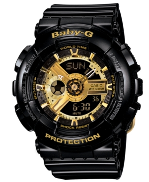 Baby-g Watch, Women's Analog-Digital Black Resin Strap 43x46mm BA110-1A