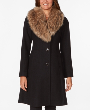 1930s Style Coats, Jackets | Art Deco Outerwear Kate Spade New York Faux-Fur Collar Skirted Coat $398.00 AT vintagedancer.com