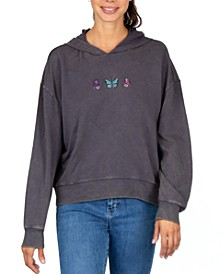 Juniors' Embroidered Butterflies Hoodie