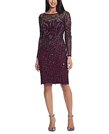 Beaded Long-Sleeve Dress