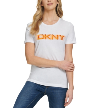 Dkny Striped Logo Knit Top In White/sunset