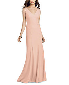 Dessy Collection V-Neck Open-Back Gown