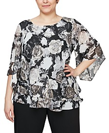 Plus Size Chiffon Burnout Floral-Print Top