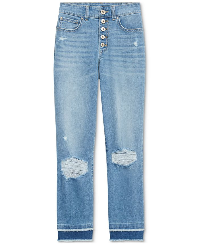INC International Concepts - Ripped Straight-Leg Jeans